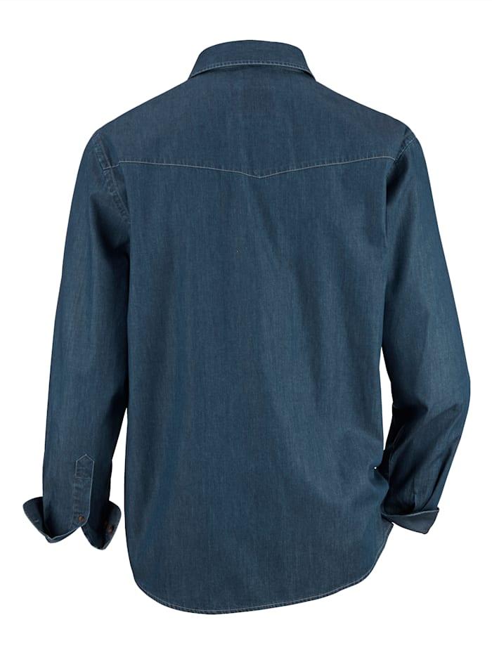 Jeansoverhemd met 2 klepzakken