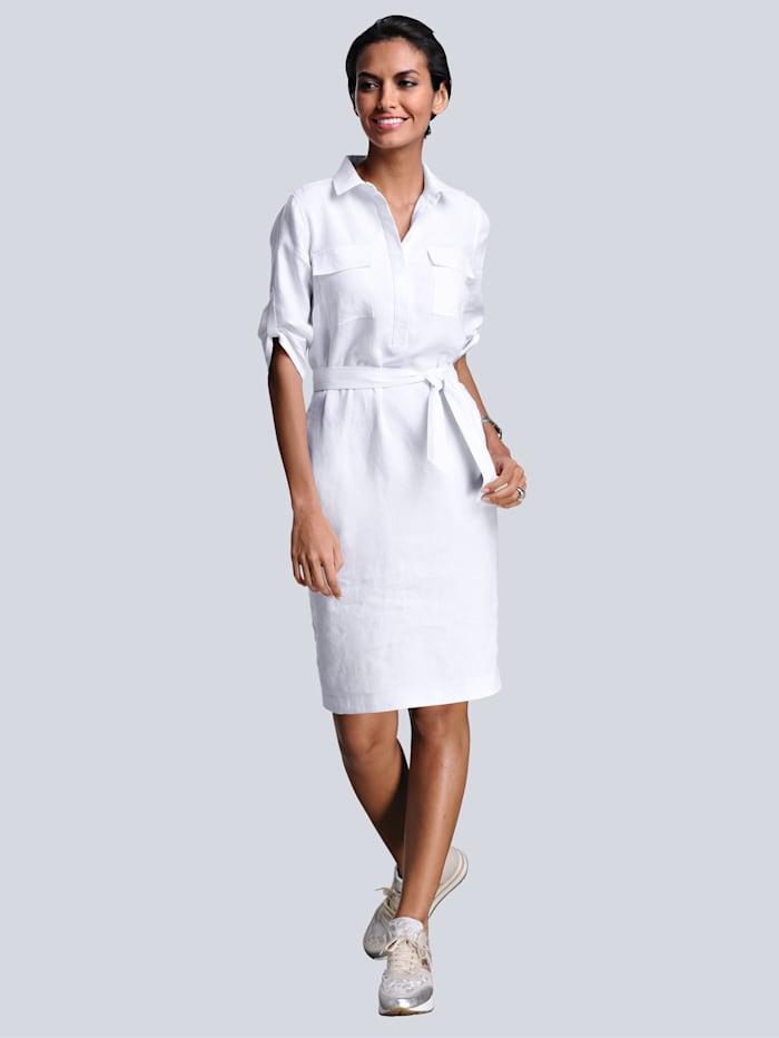 Alba Moda Leinenkleid in modischer Schnittführung, Weiß