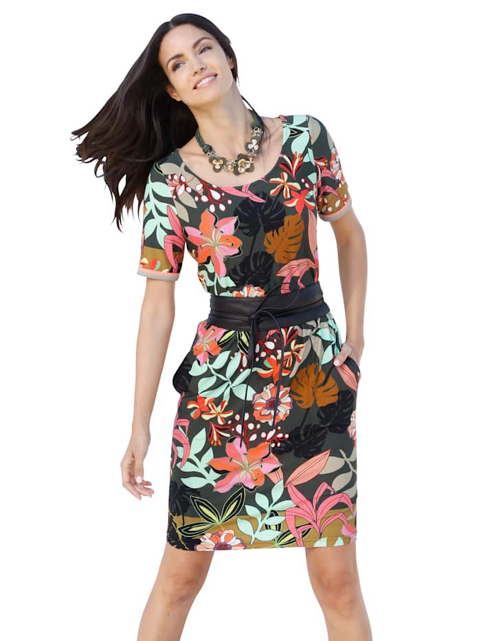 AMY VERMONT Jerseykleid mit floralem Muster allover, Oliv/Rosé