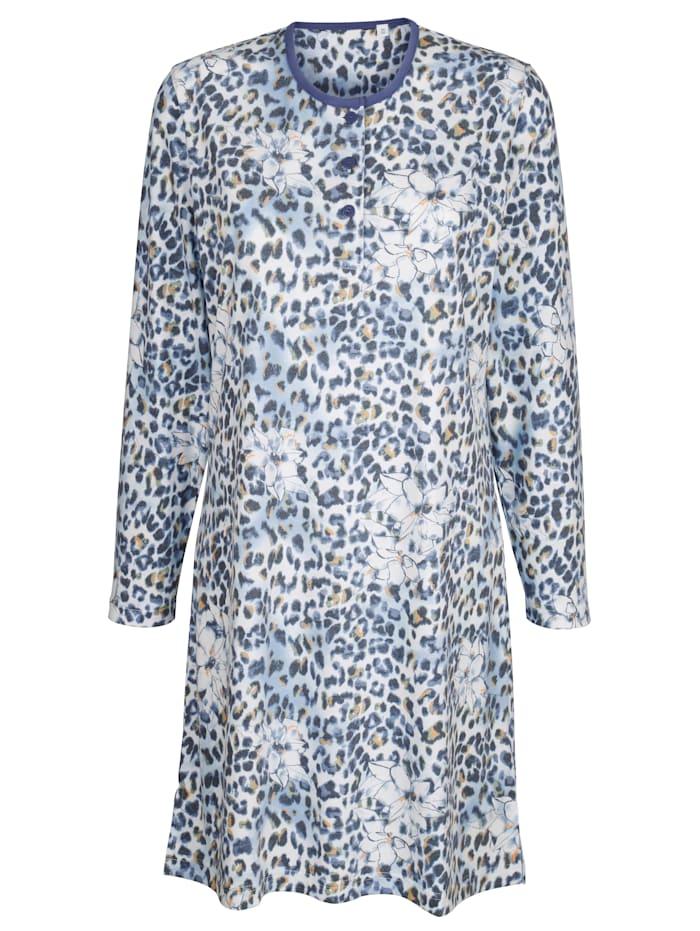 MONA Nachthemd mit hübschem Blumen-Animal-Dessin, jeansblau/ecru/curry