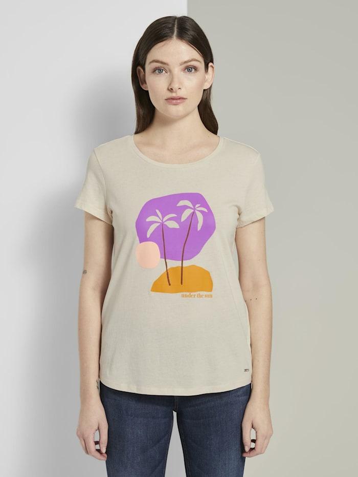 Tom Tailor Denim T-Shirt mit Print, soft creme beige