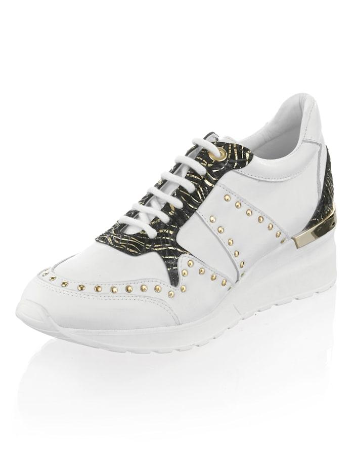 Alba Moda Sneaker mit Keilabsatz, Weiß/Schwarz/Goldfarben