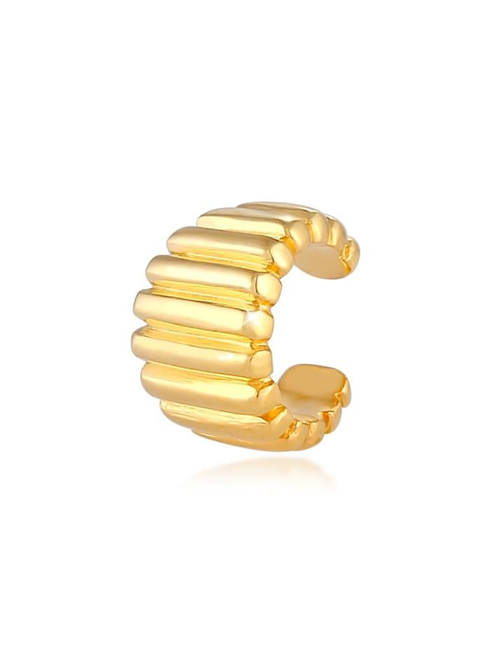 Elli Ohrringe Earcuff Ohrklemme Single Relief Gerillt 925 Silber, Gold