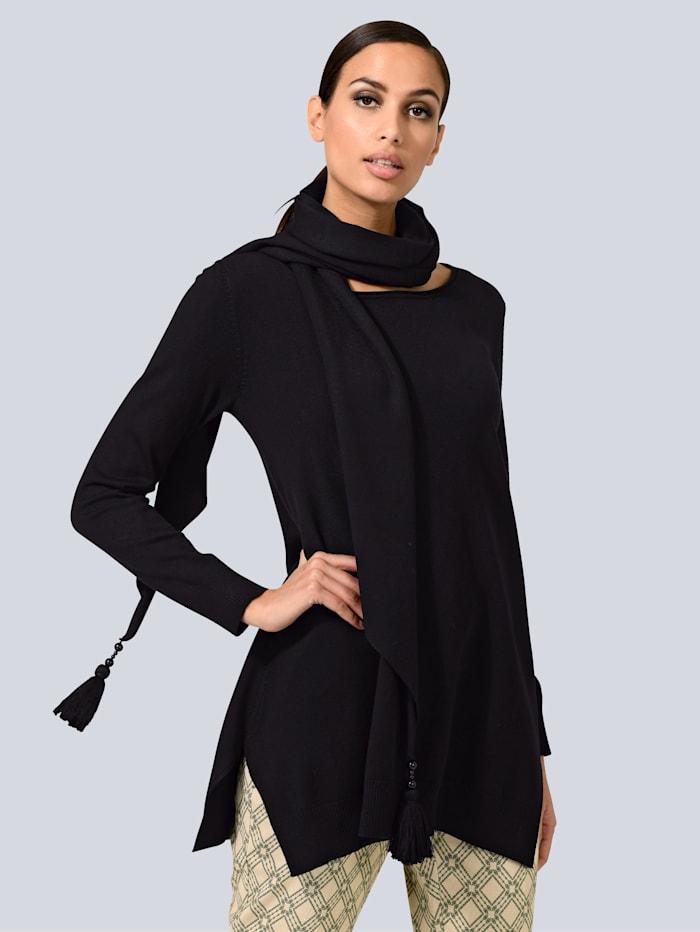 Alba Moda White Pullover mit abnehmbarem Schal, Schwarz