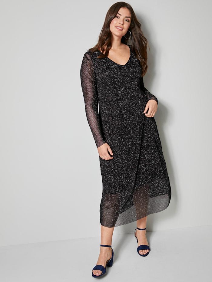 Angel of Style Mesh-Kleid mit Glanzeffekten, Schwarz