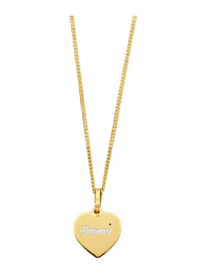 Pendentif cœur avec chaîne, Coloris or jaune