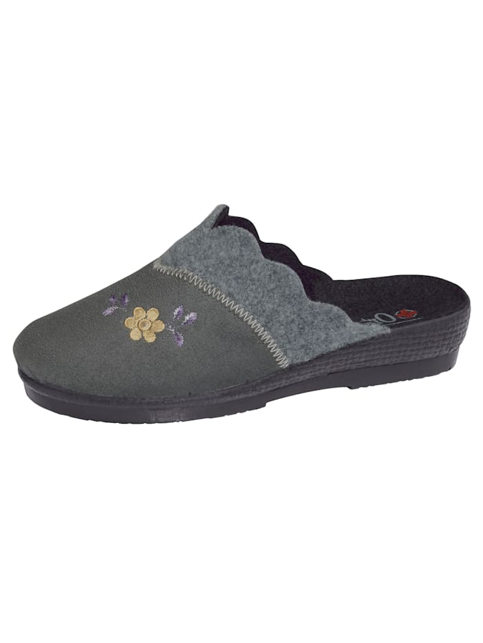 Belafit Hausschuh mit filigraner Blütenapplikation, Grau