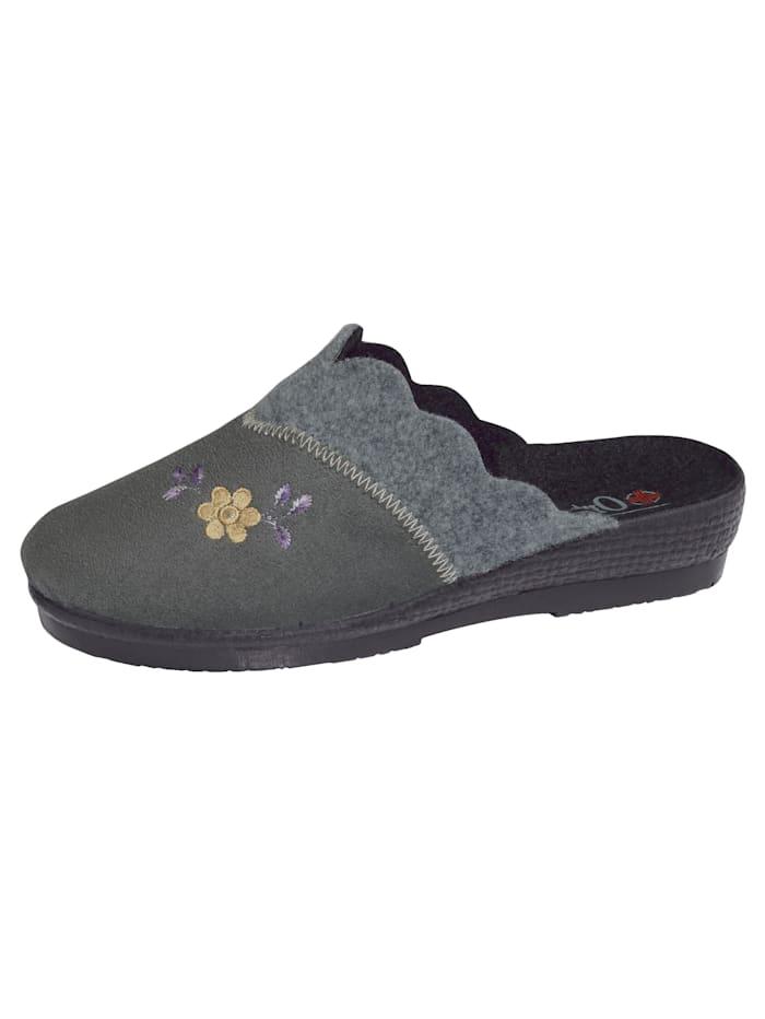 Belafit Pantoffel met bloemenapplicatie, Grijs