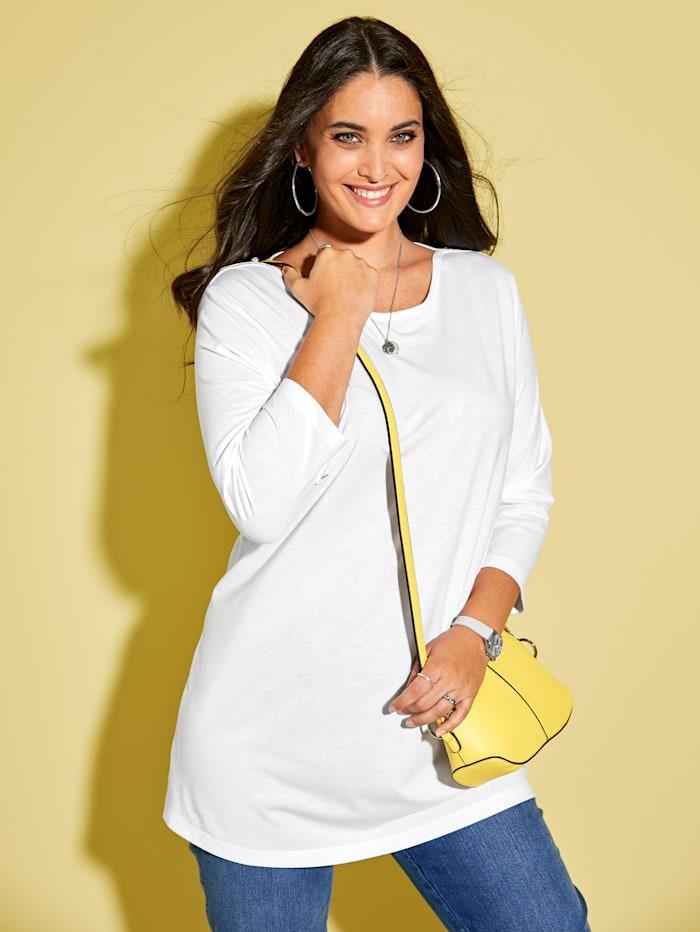 MIAMODA Shirt mit femininem Ausschnitt, Weiß