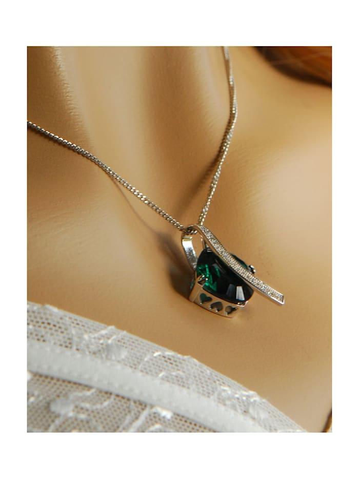 Collier Silber 925 Milleniumcut smaragdgrüner Zirkonia
