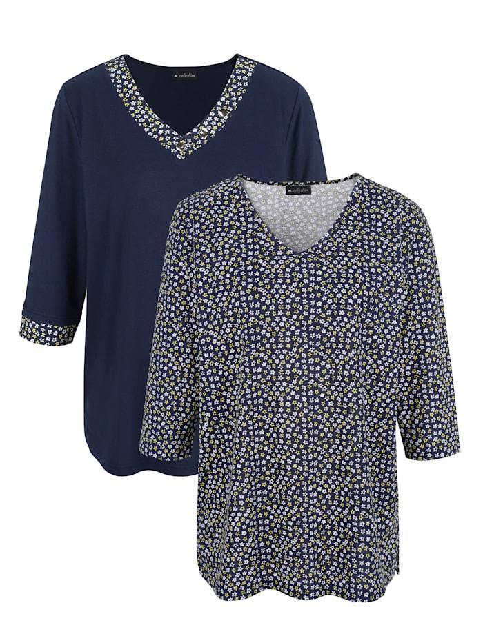 m. collection Doppelpack Shirts 1x uni und 1x in floralem Druckdesign, Marineblau/Gelb/Weiß