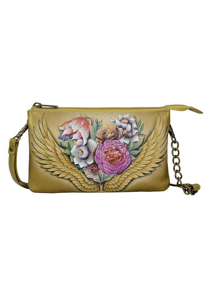 ANUSCHKA Umhängetasche Angels Wings aus handbemaltem Leder, bunt