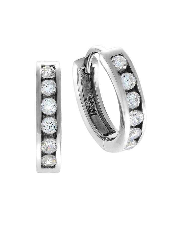 ZEEme Creolen 925/- Sterling Silber Zirkonia weiß 1,6cm Glänzend 925/- Sterling Silber, weiß