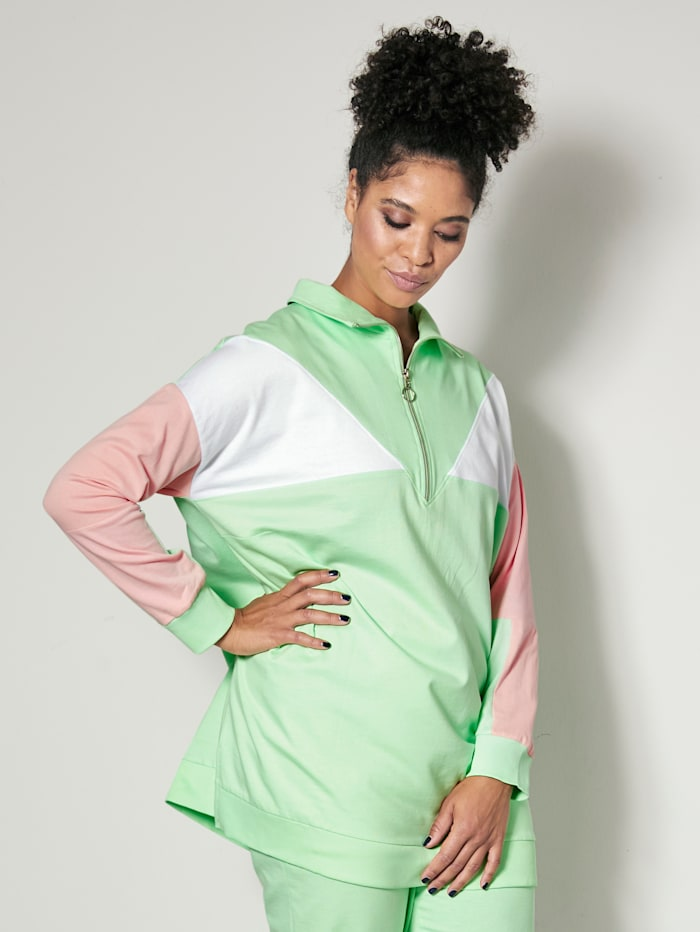 Janet & Joyce Sweatshirt med colorblocking, Mint/Blekrosa/Hvit