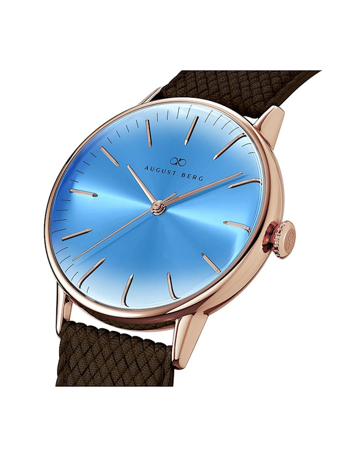 Uhr Serenity Sky Blue Dark Brown Perlon 40mm