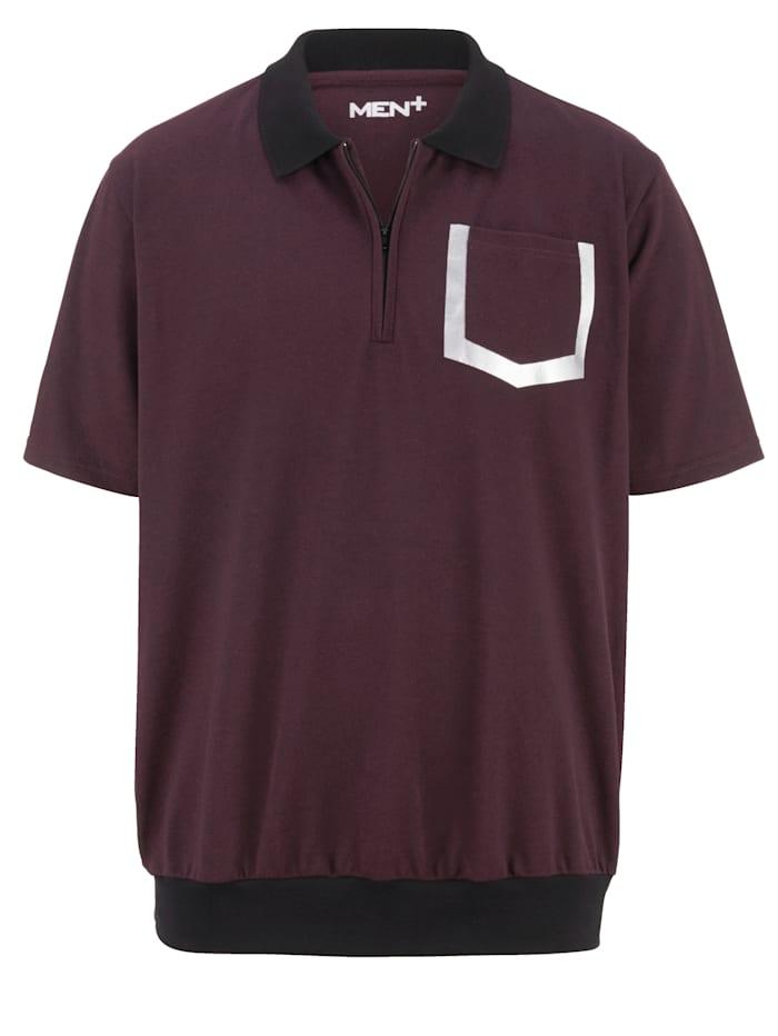Men Plus Erityisleikattu taitekauluksinen paita, Bordeaux/Musta