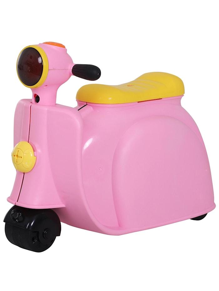 HOMCOM Kinderkoffer als Motorrad, rosa