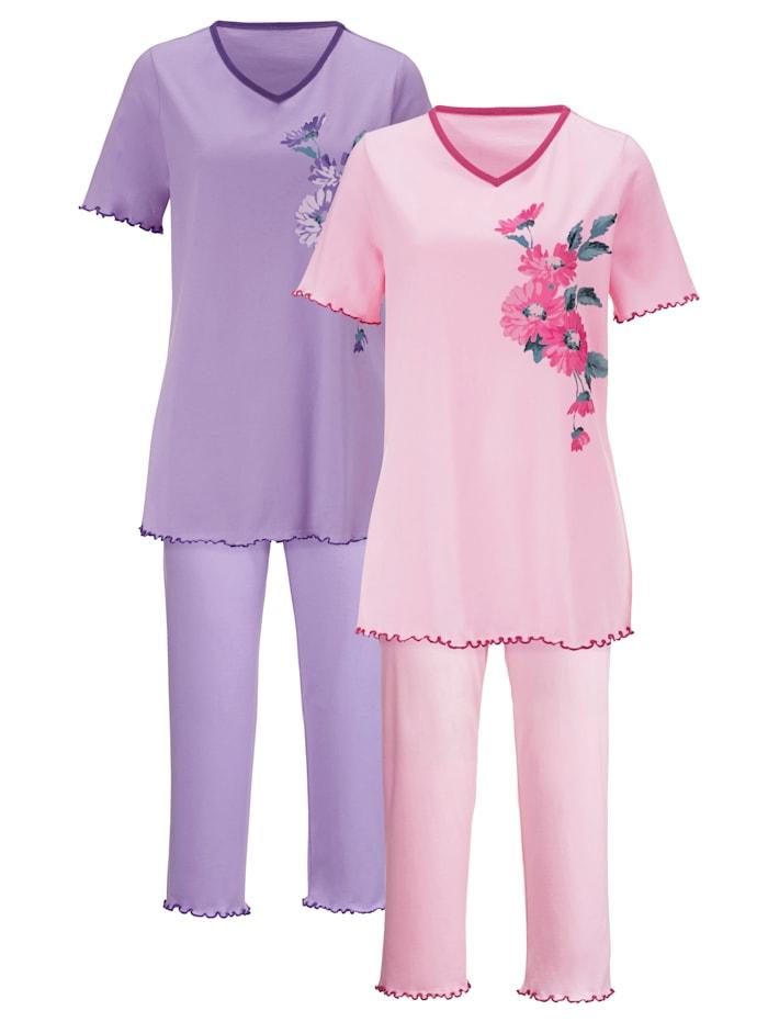 Harmony Pyjama's per 2 stuks met decoratieve contrastpaspels, Roze/Lila
