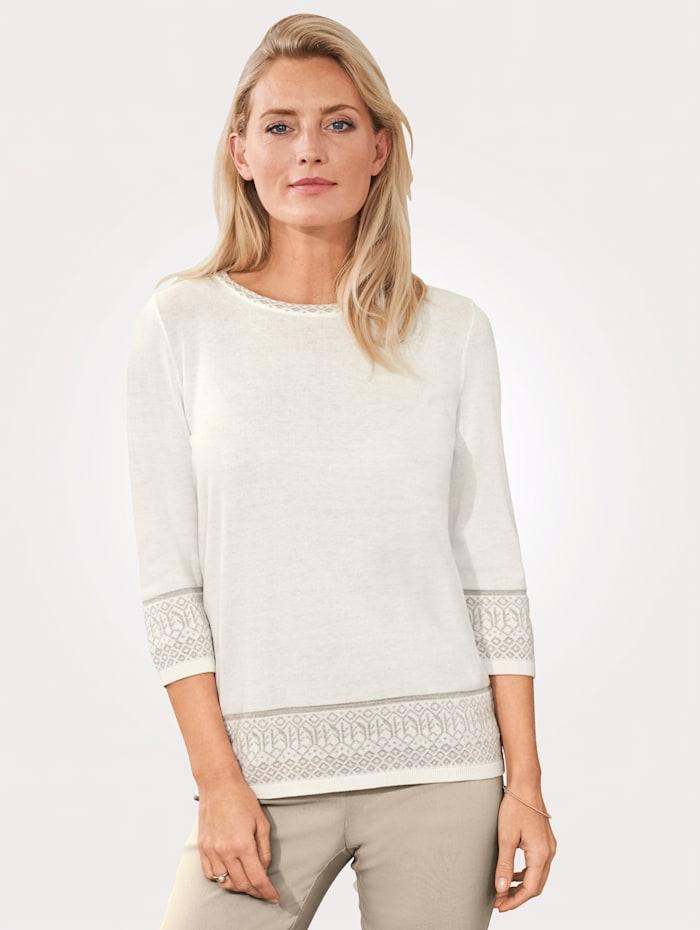 MONA Pullover mit Muster am Armabschluss, Ecru