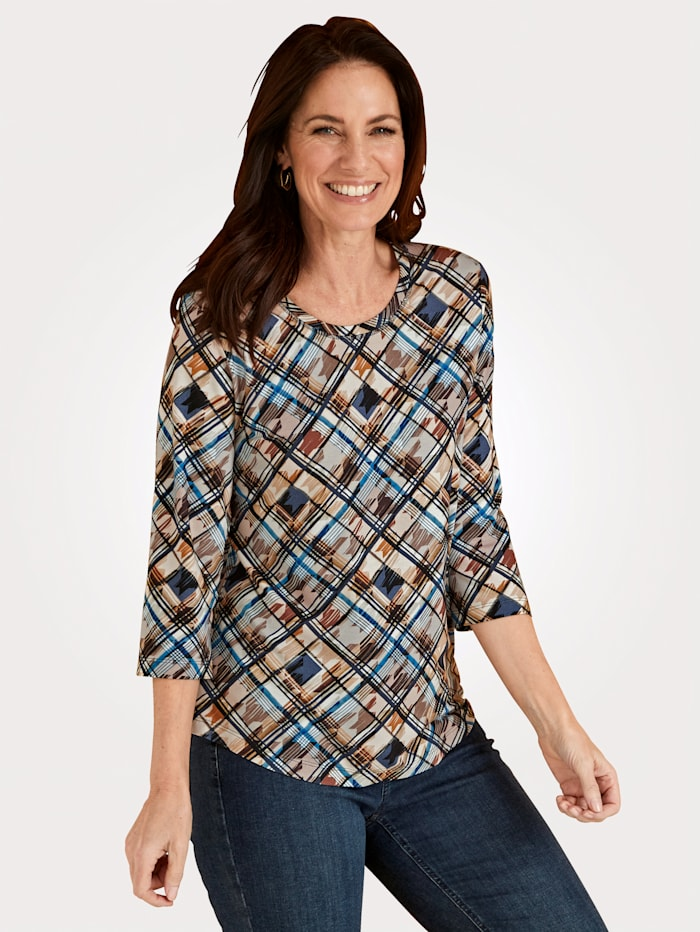 Rabe Top with a bold allover print, Navy/Cognac