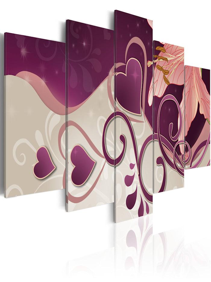 artgeist Wandbild Herzen und Lilie, Violett,Grau,rosa