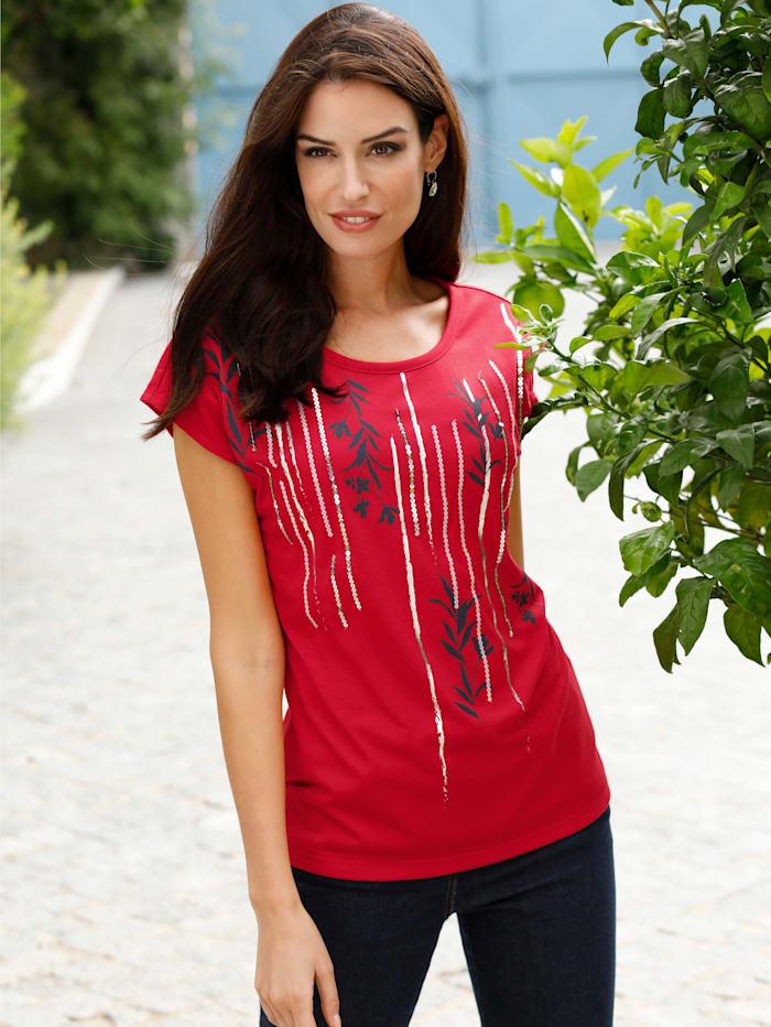 Paola Shirt met glanzende zilverkleurige print, Rood