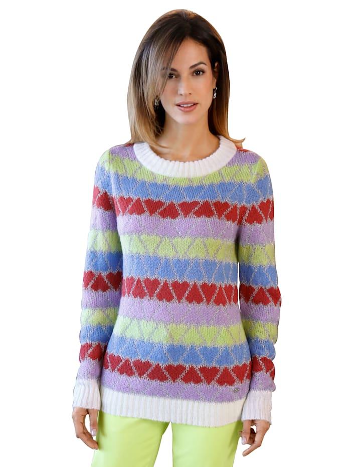 AMY VERMONT Pullover im Herzen-Dessin, Weiß/Rot/Blau/Flieder/Hellgrün