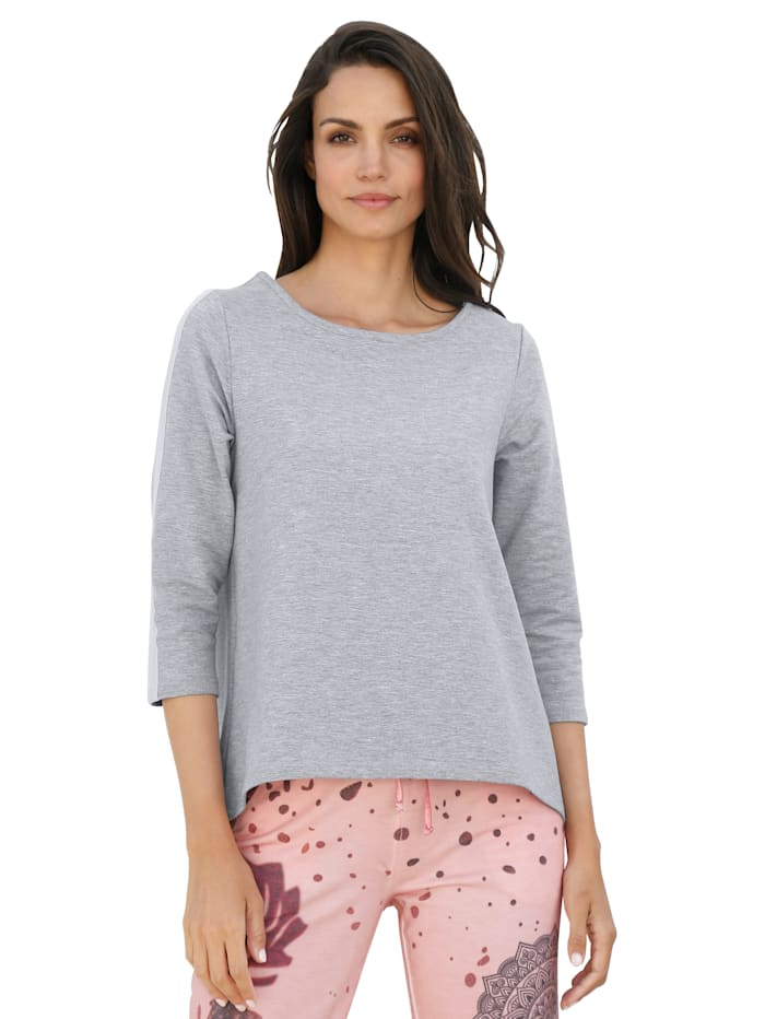 AMY VERMONT Sweatshirt mit Kellerfalte, Grau/Rosé