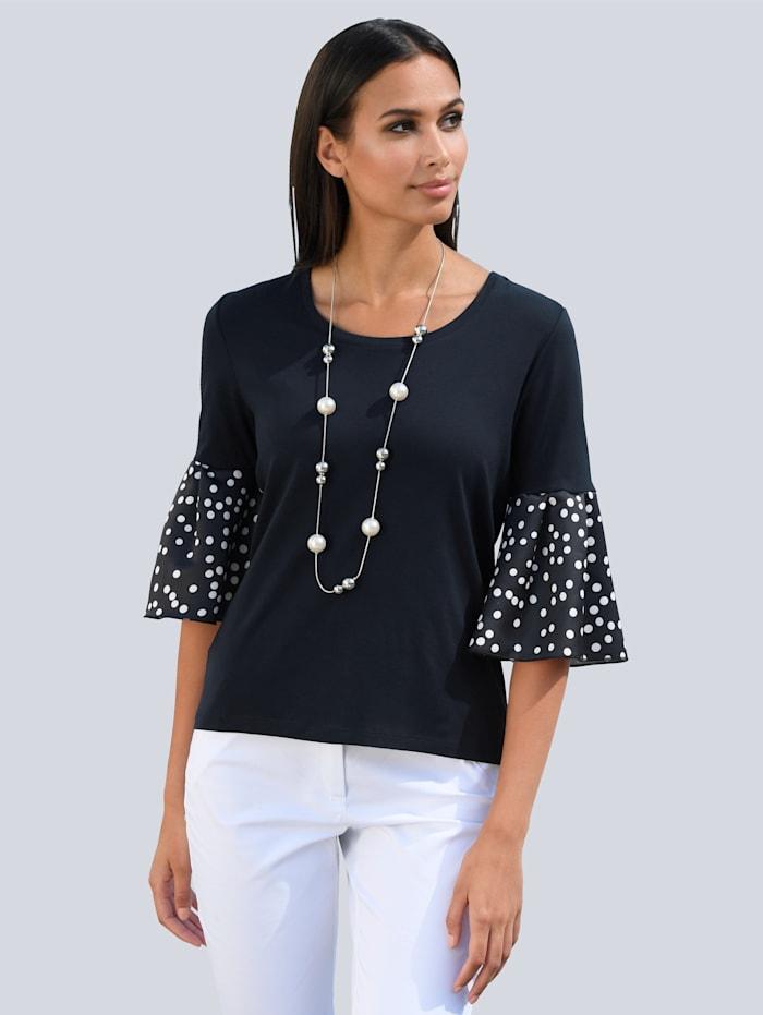 Alba Moda Shirt mit Web- Ärmeln, Marineblau/Off-white
