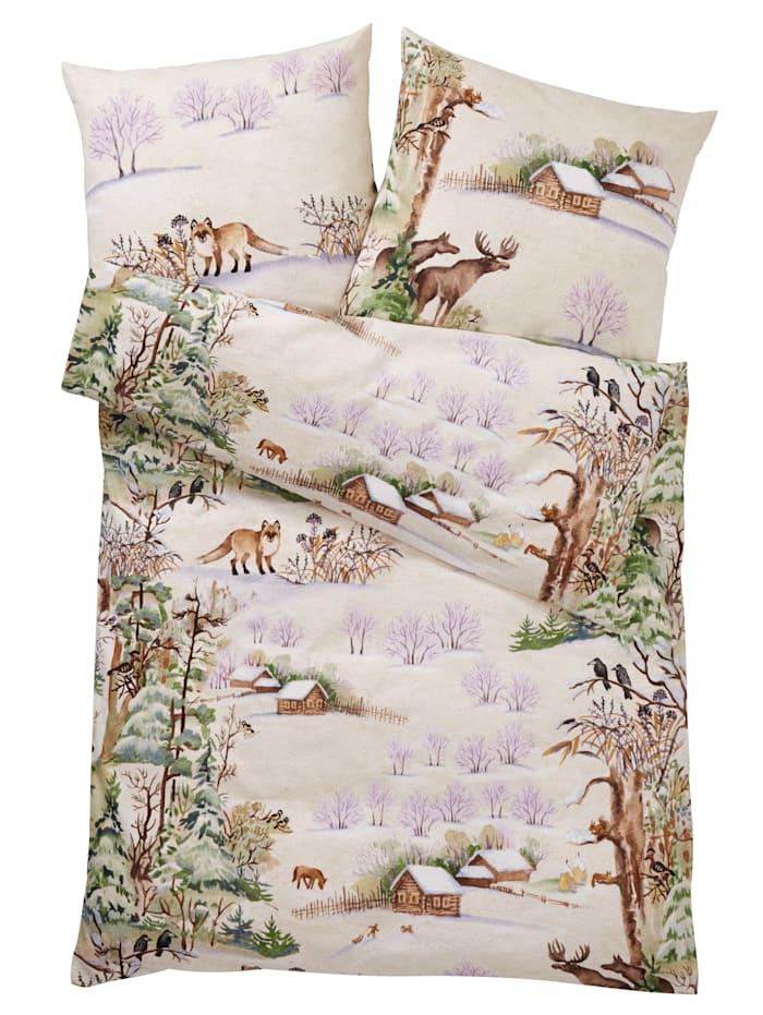 "Webschatz Biber posteľná bielizeň ""Zimná krajina"", prírodná"