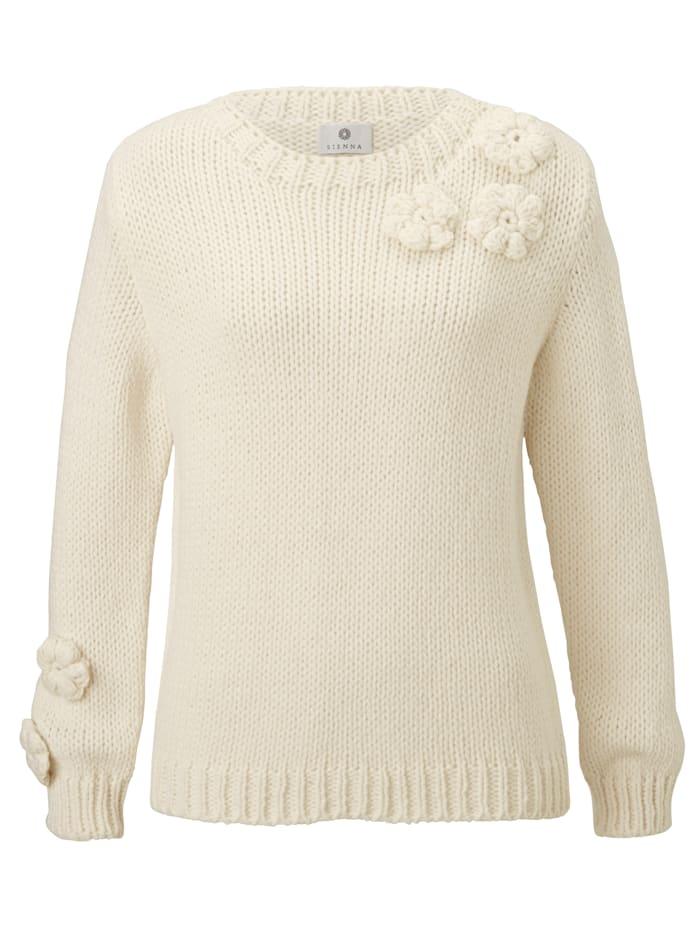 SIENNA Pullover mit Häkelblüten, Off-white