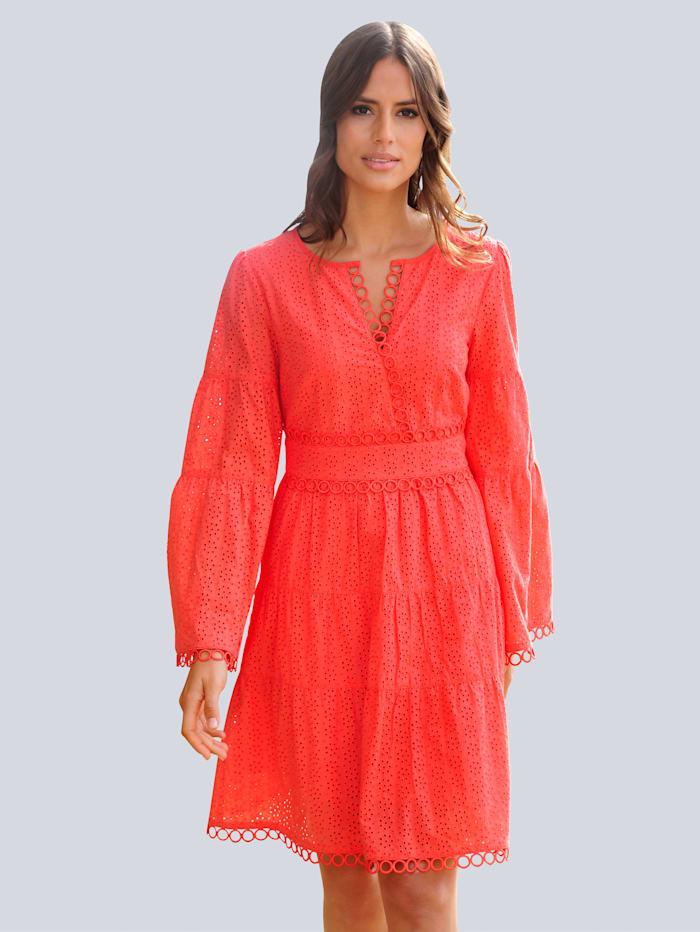 Alba Moda Strandkleid mit edler Zierspitze, Orange
