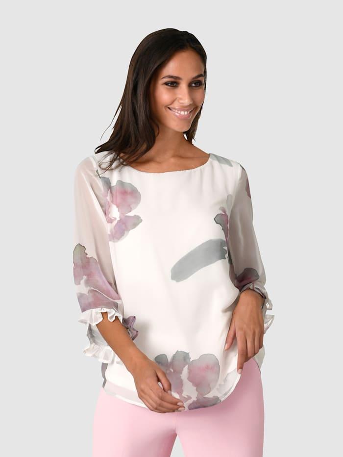 Alba Moda Bluse mit femininem Volantdetail an den Ärmeln, Off-white/Rosé