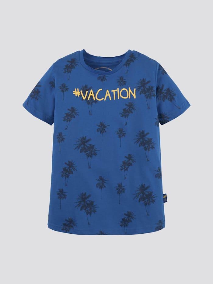 Tom Tailor T-Shirt mit Palmen-Print, victoria blue|blue