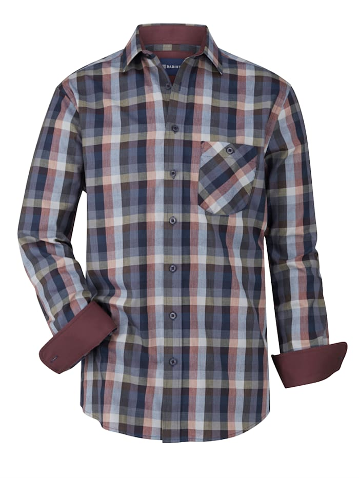BABISTA Overhemd met ingeweven ruitdessin, Blauw/Prune