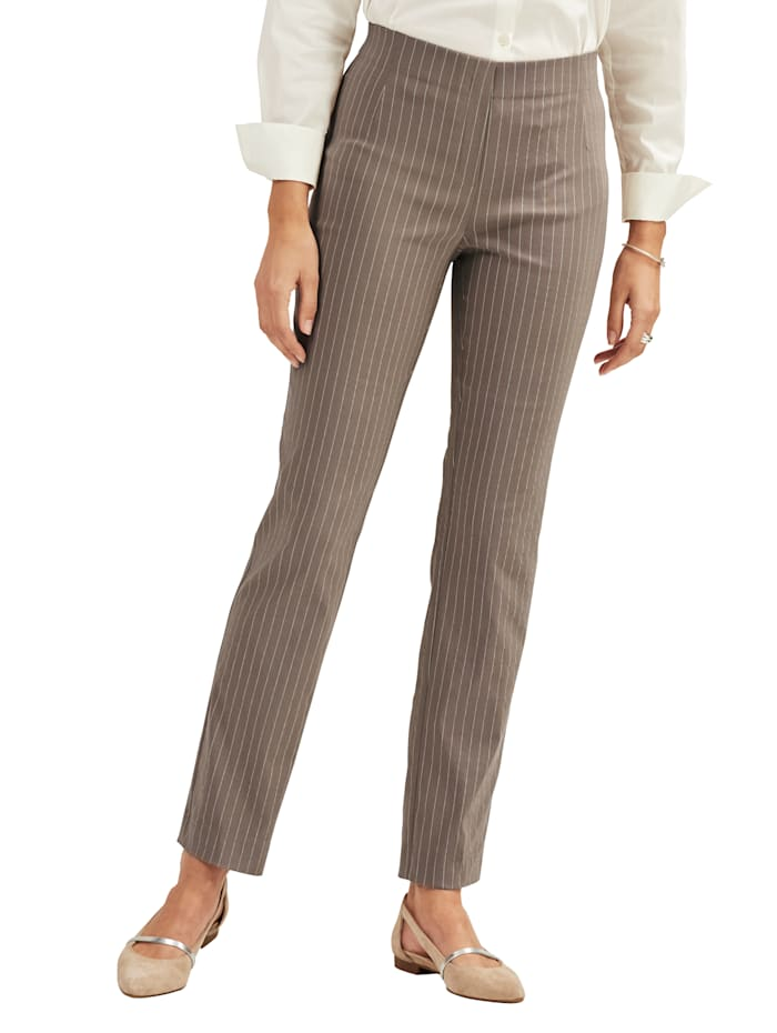 Pull-on trousers with a pinstripe pattern