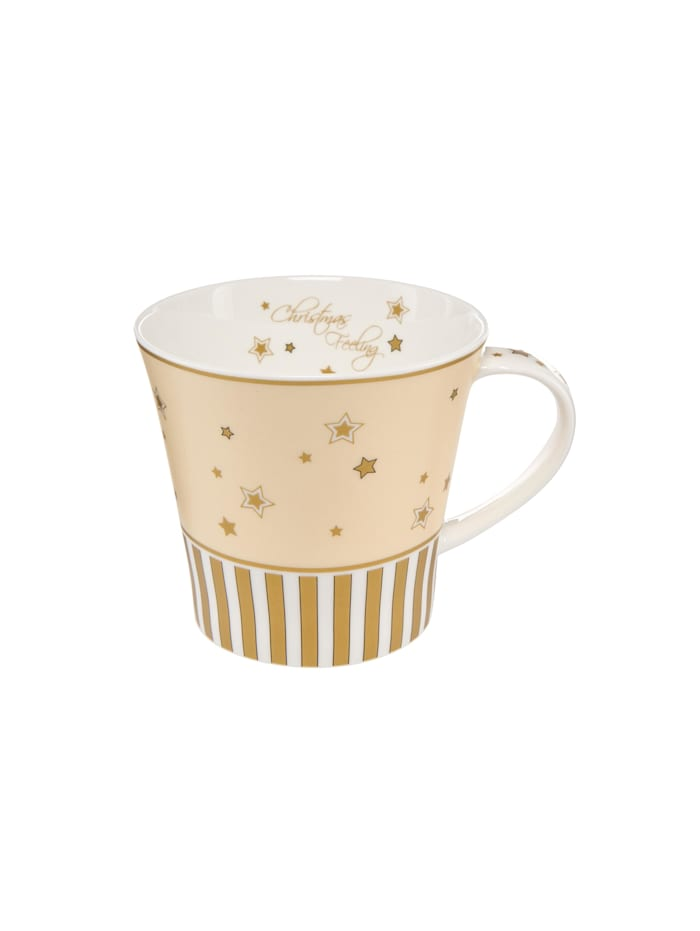 Goebel Goebel Coffee-/Tea Mug Christmas Feeling - Streifen, Champagner