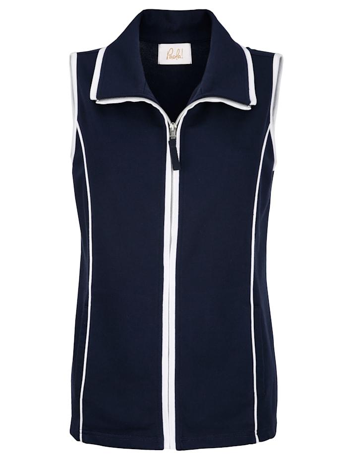Sweat vesta s kontrastním šitím