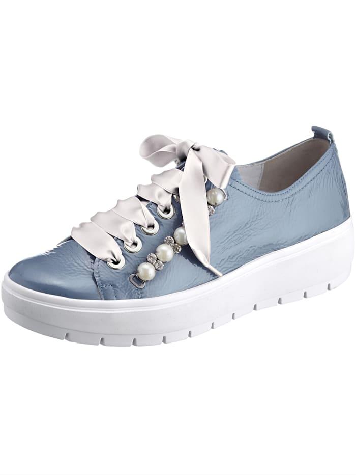 Semler Schnürschuh mit modischer Perlen- und Strassdeko, Blau