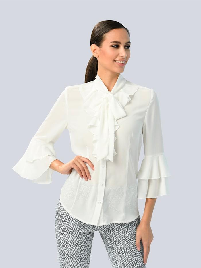 Alba Moda Bluse mit Volantdetails, Weiß