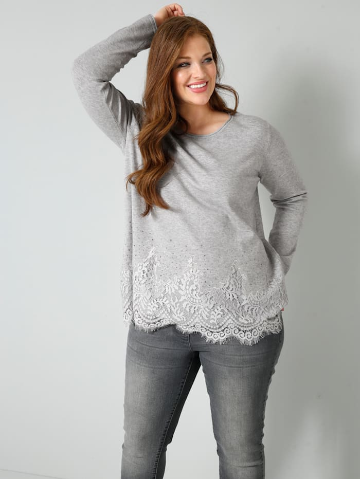 Sara Lindholm Pullover mit elastischer Spitze am Saum, Grau