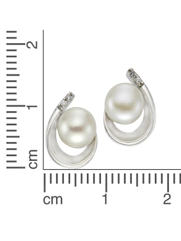 Ohrstecker 925/- Sterling Silber Perle weiß 1,25cm Glänzend 925/- Sterling Silber