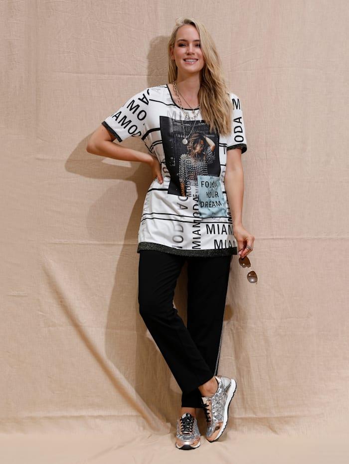 MIAMODA Longshirt met trendy print, Wit/Zwart