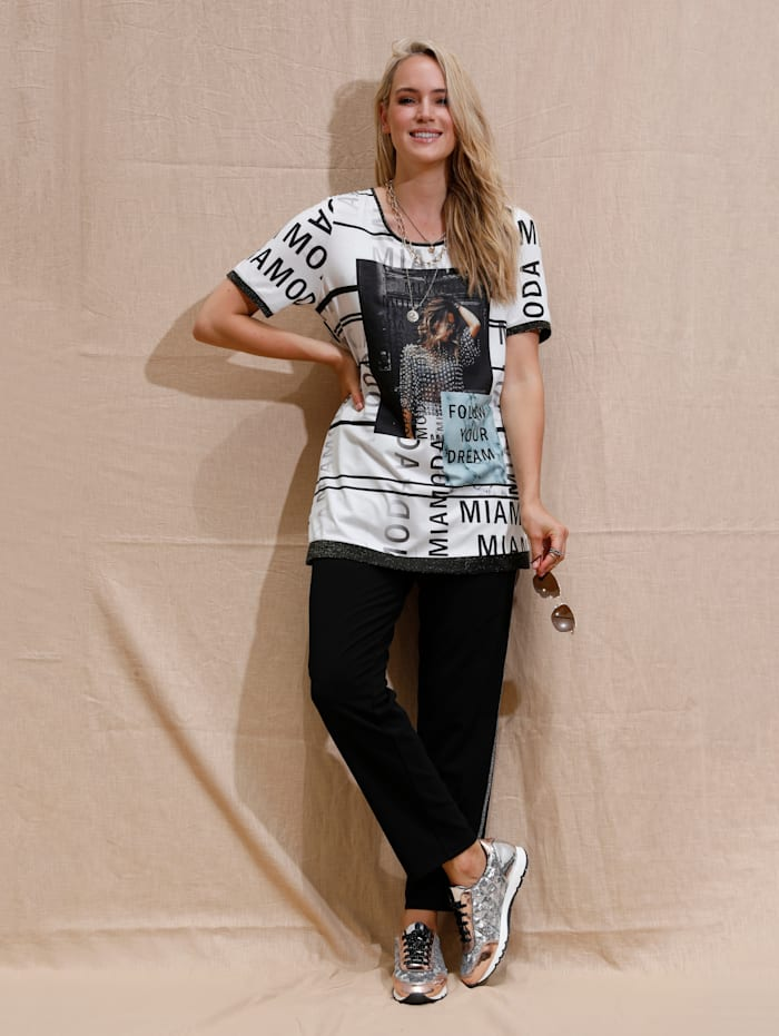 MIAMODA T-shirt long à imprimé mode, Blanc/Noir