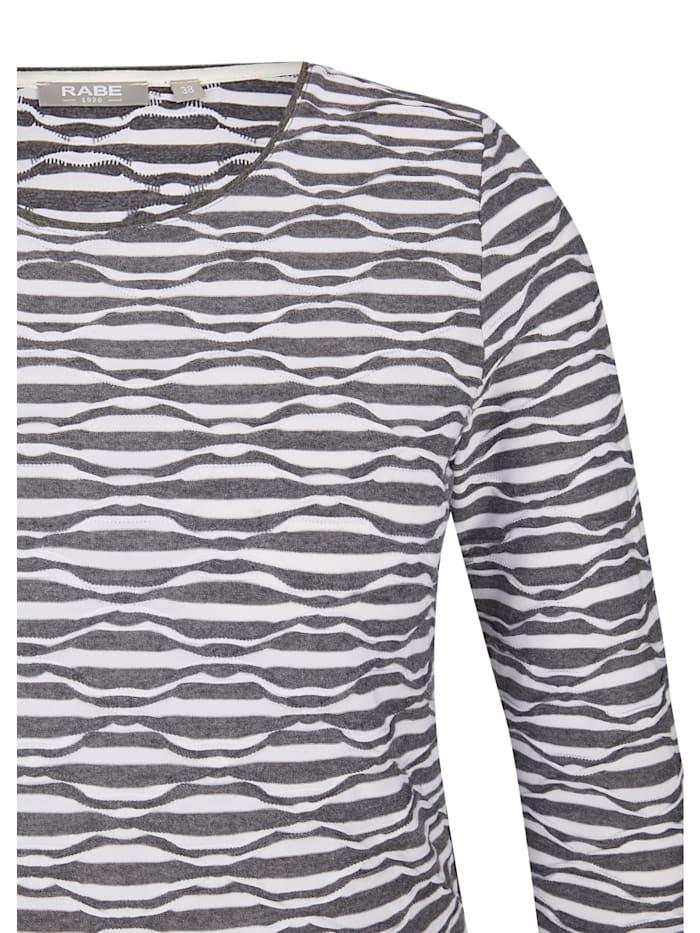Shirt mit ¾-Ärmeln und Wellenstruktur