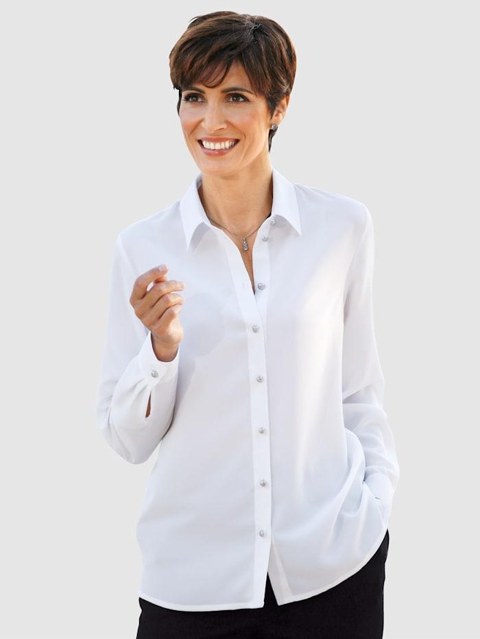 Paola Blus med snygga knappar, Vit