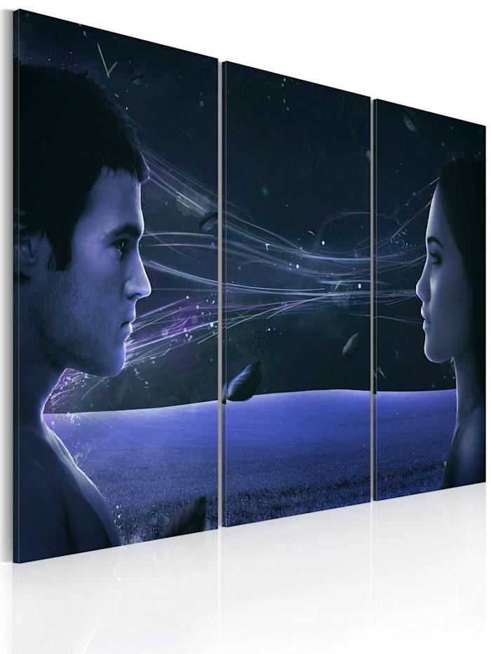 artgeist Wandbild Magnetischer Blick - Triptychon, Schwarz,Dunkelblau