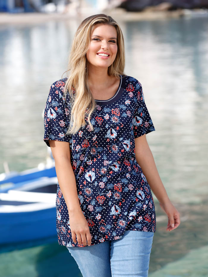 Janet & Joyce T-shirt à pois et fleurs, Marine/Bleu/Blanc