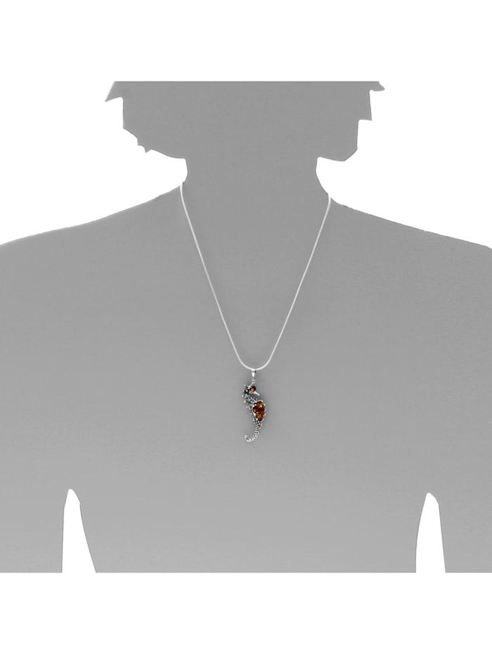 Kette mit Anhänger - Seepferd - Silber 925/000 - Bernstein