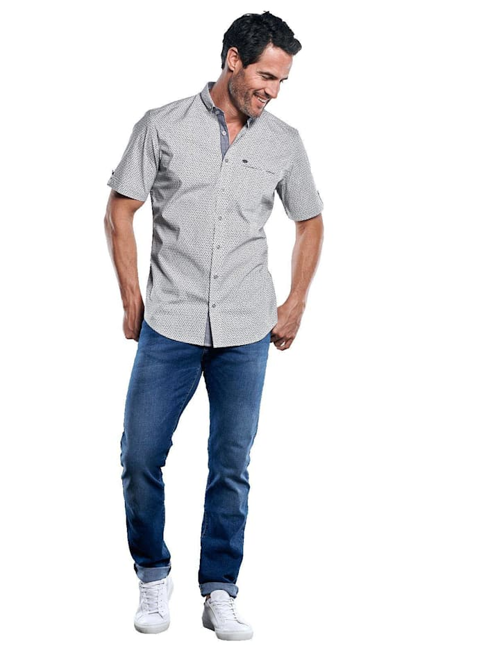 Gemustertes Hemd mit Jersey-Anteil
